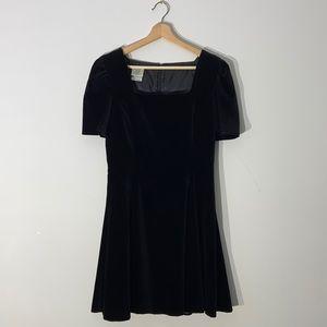 Vintage Black Velvet Mini Skater Dress